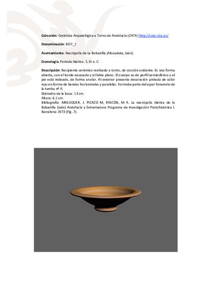 3D PDF de BO7_1. Recipiente cerámico procedente de la necrópolis ibérica de La Bobadilla (Alcaudete, Jaén)