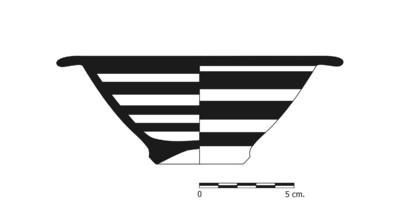 Imagen en blanco y negro, BO7_2. Recipiente cerámico procedente de la necrópolis ibérica de La Bobadilla (Alcaudete, Jaén)