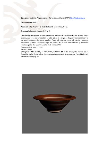 3D PDF de BO7_2. Recipiente cerámico procedente de la necrópolis ibérica de La Bobadilla (Alcaudete, Jaén)