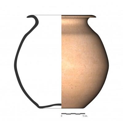 Imagen en color, BO9_1. Recipiente cerámico procedente de la necrópolis ibérica de La Bobadilla (Alcaudete, Jaén)