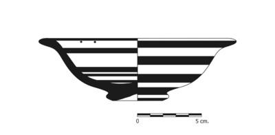 Imagen en blanco y negro, BO9_3. Recipiente cerámico procedente de la necrópolis ibérica de La Bobadilla (Alcaudete, Jaén)