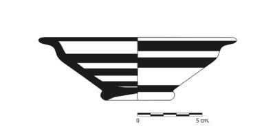 Imagen en blanco y negro, BO9_4. Recipiente cerámico procedente de la necrópolis ibérica de La Bobadilla (Alcaudete, Jaén)
