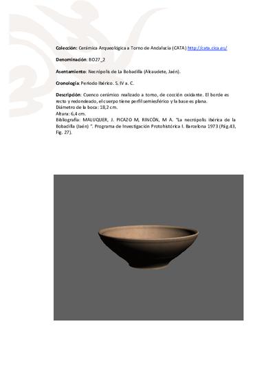 3D PDF de BO27_2. Recipiente cerámico procedente de la necrópolis ibérica de La Bobadilla (Alcaudete, Jaén)