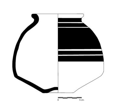 Imagen en blanco y negro, CC01_1. Recipiente cerámico procedente de la necrópolis ibérica de Castellones de Ceal (Hinojares, Jaén)