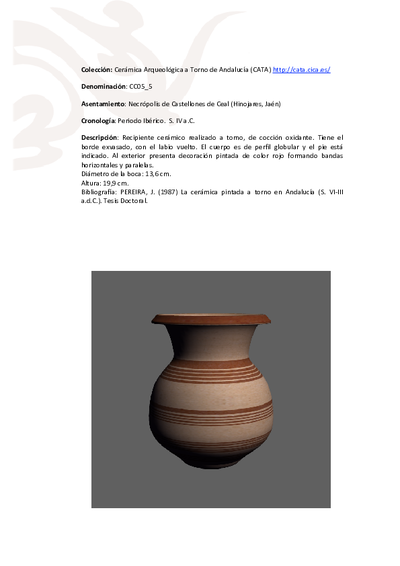 3D PDF de CC05_5. Recipiente cerámico procedente de la necrópolis ibérica de Castellones de Ceal (Hinojares, Jaén)