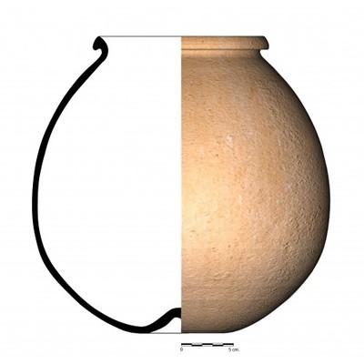 Imagen en color, CC06_5. Recipiente cerámico procedente de la necrópolis ibérica de Castellones de Ceal (Hinojares, Jaén)