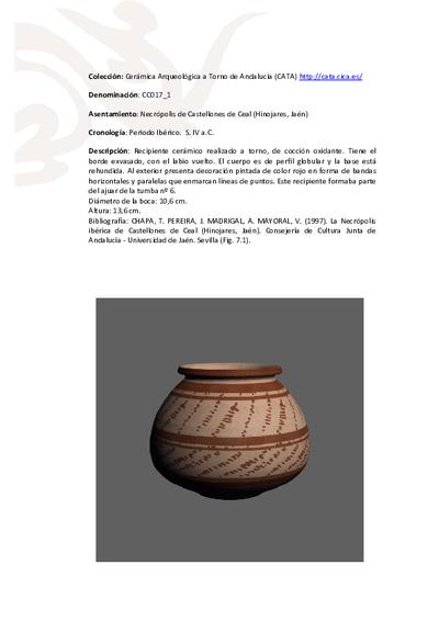 3D PDF de CC017_1. Recipiente cerámico procedente de la necrópolis ibérica de Castellones de Ceal (Hinojares, Jaén)