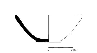 Imagen en blanco y negro, CG02. Recipiente cerámico procedente de la necrópolis ibero-romana del Cerrillo de los Gordos, Cástulo (Linares, Jaén)