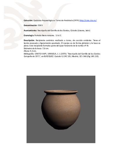3D PDF de CG03. Recipiente cerámico procedente de la necrópolis ibero-romana del Cerrillo de los Gordos, Cástulo (Linares, Jaén)