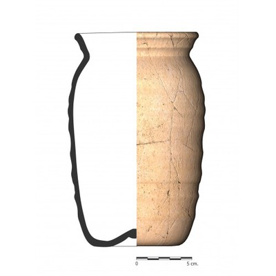 Imagen en color, GI_06. Recipiente cerámico procedente del oppidum ibérico de Giribaile (Vilches, Jaén)