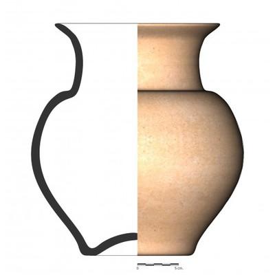 Imagen en color, GU030. Recipiente cerámico procedente de la necrópolis ibérica del Cerro del Ejido de San Sebastian (La Guardia, Jaén)