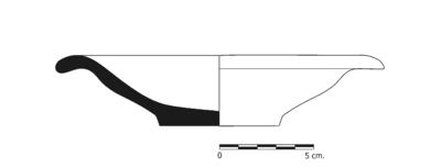 Imagen en blanco y negro, GU047. Recipiente cerámico procedente de la necrópolis ibérica del Cerro del Ejido de San Sebastian (La Guardia, Jaén)