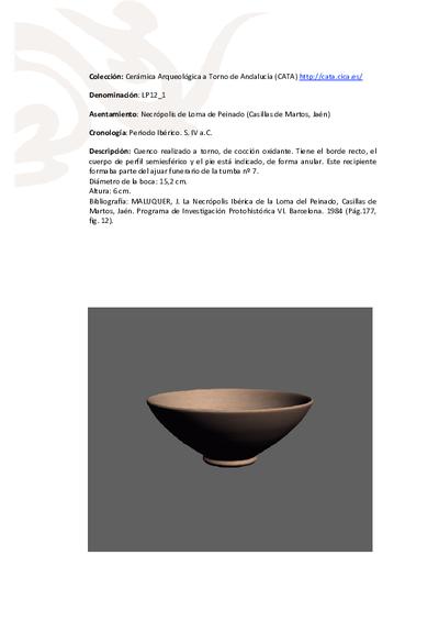 3D PDF de LP12_1. Recipiente cerámico procedente de la necrópolis ibérica de Loma de Peinado (Casillas de Martos, Jaén)