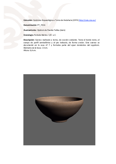 3D PDF de PT_7016. Recipiente cerámico procedente del oppidum ibérico de Puente Tablas (Jaén)