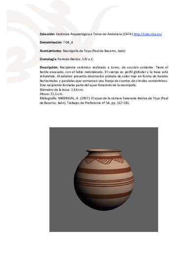 3D PDF de TO4_4. Recipiente cerámico procedente de la necrópolis de Toya (Peal de Becerro, Jaén)