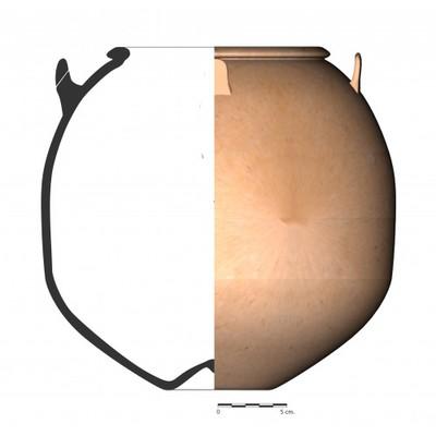 Imagen en color, TU84_2. Recipiente cerámico procedente de la necrópolis ibérica de Tútugi (Galera, Granada)