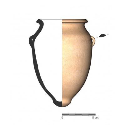 Imagen en color, TU96_2. Recipiente cerámico procedente de la necrópolis ibérica de Tútugi (Galera, Granada)