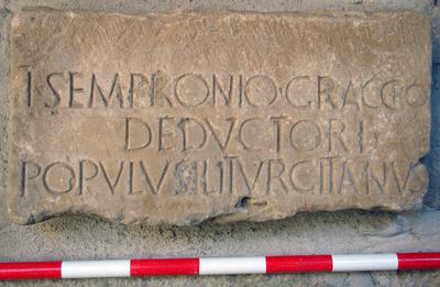 Inscripción honorífica Iliturgi, Cerro Maquiz (Mengíbar, Jaén, España)