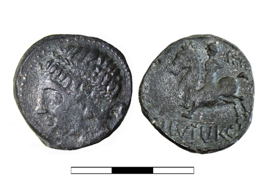 Moneda de la ceca de Iliturgi, Cerro Maquiz (Mengíbar, Jaén, España)