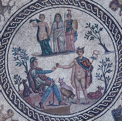 El juicio de Paris. Mosaico de los Amores, Cástulo (Linares, España)