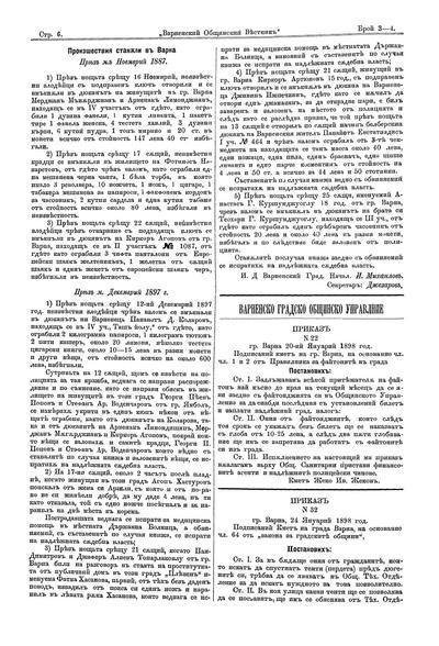 Приказ N 22  : Гр. Варна 20 Януарий 1898 год.