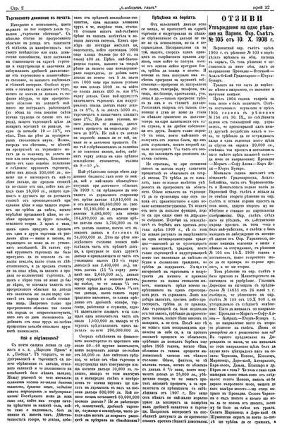 Утвърждение на едно решение на Варненския Окръжен Съвет N 105 от 10.X. 1908 г