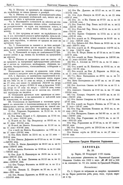 Заповед N 28  : Гр. Варна, 28 Февруарий 1903 година