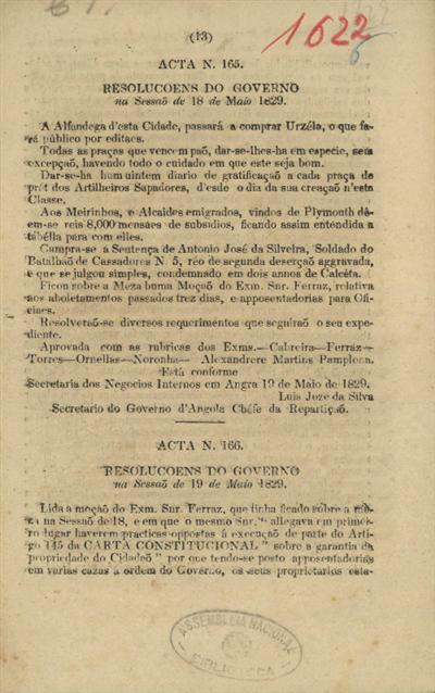 Resoluções do Governo na Sessão de...