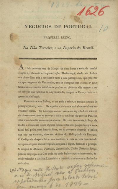 Negocios de Portugal naquelle Reino, na ilha Terceira, e no Imperio do Brazil