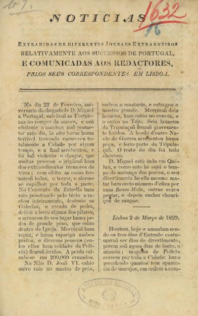 Noticias extrahidas de diferentes jornaes extrangeiros relativamente aos sucessos de Portugal, e comunicadas aos redactores, pelos seus correspondentes em Lisboa