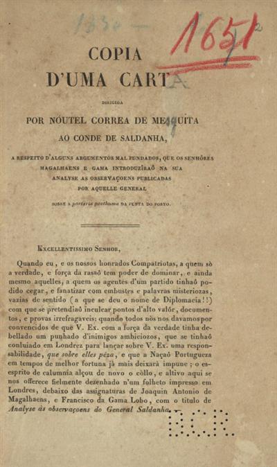 Copia d'uma carta dirigida por Noutel Correa de Mesquita ao Conde de Saldanha...