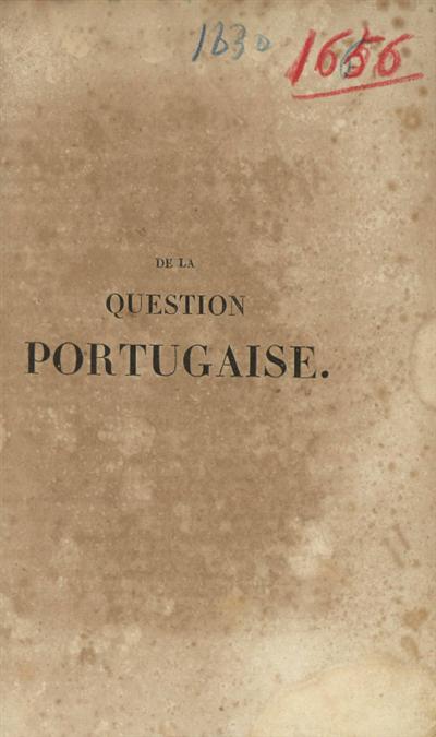 De la question portugaise