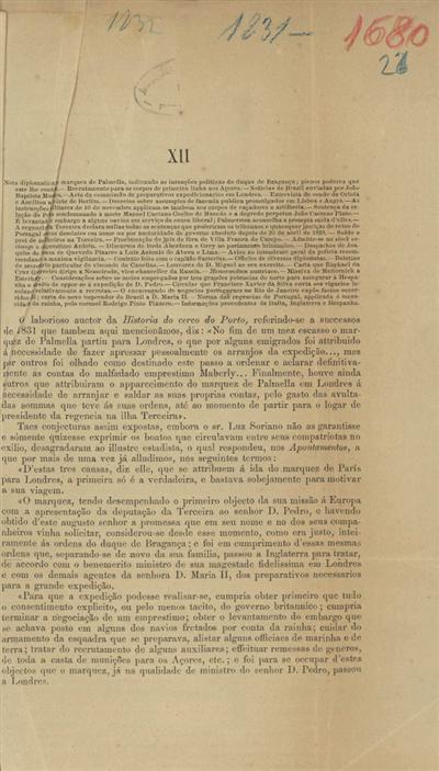 Nota diplomatica do Marquez de Palmella, indicando as intenções politicas do Duque de Bragança, plenos poderes que este lhe confere