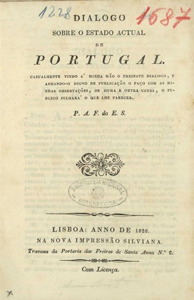 Dialogo sobre o estado actual de Portugal