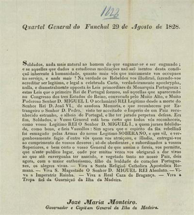 Quartel General do Funchal, 29 de Agosto de 1828: Soldados, nada mais natural...