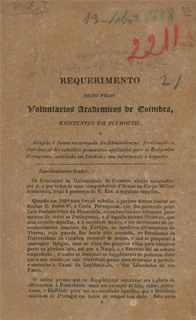 Requerimento feito pelos voluntarios academicos de Coimbra existentes em Plymouth