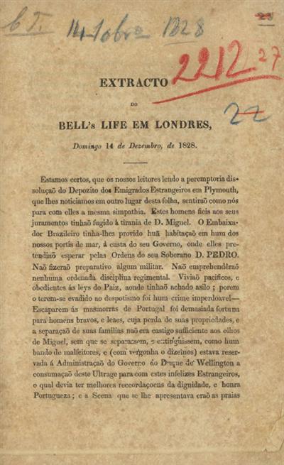 Extracto do Bell's life em Londres, Domingo 14 de Dezembro, de 1828