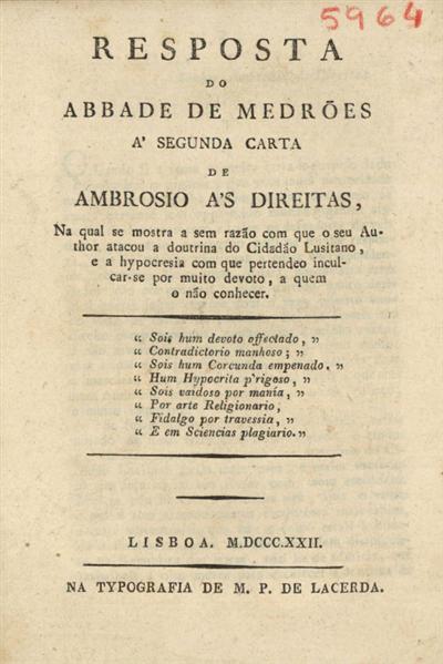 Resposta do Abbade de Medrões á segunda carta de Ambrosio ás Direitas sobre alguns artigos do Cidadão Lusitano