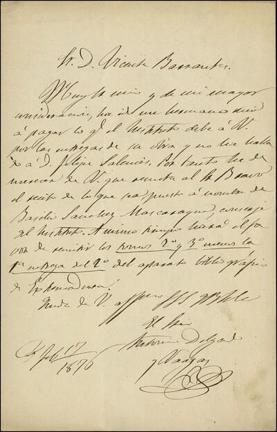 Carta de Martín Delgado y vargas dirigida a Vicente Barrantes : [ [manuscrito]