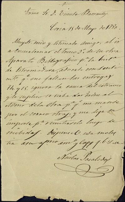 Carta de Nicolás Pasalodós dirigido a Vicente Barrantes : [ [manuscrito]