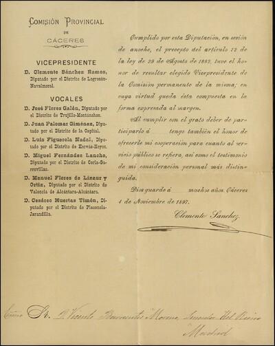 Carta Clemente Sánchez Ramos dirigida a Vicente Barrantes, Senador en Madrid, donde le icomunica su nombramiento como Vicepresidente de la Comisión Provincial de Cáceres [ [Manuscrito]
