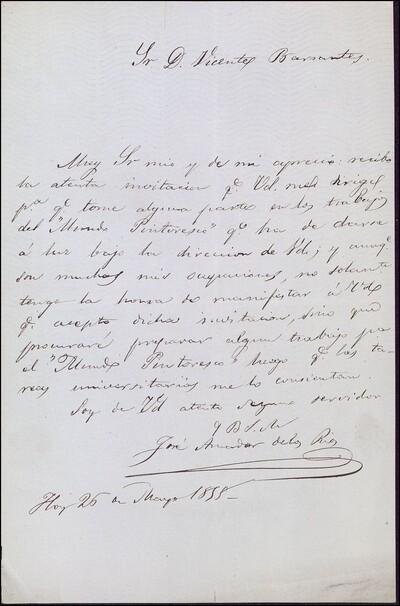 Carta de José Amador de los Ríos a Vicente Barrantes [ [Manuscrito]