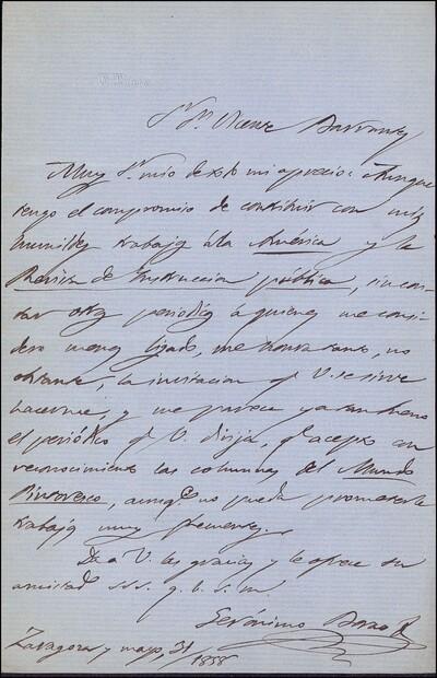 Carta de Jerónimo Borao dirigida a Vicente Barrantes : [ [manuscrito]