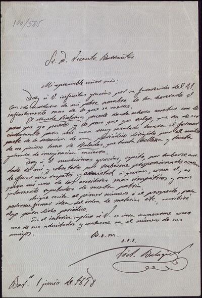 Carta de Víctor Balaguer i Cirera dirigida a Vicente Barrantes : [ [manuscrito]