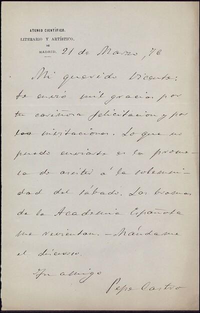 Carta de Pepe Castro dirigida a Vicente Barrantes : [ [manuscrito]
