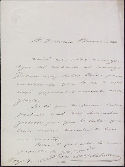 Carta de José María de la Llana dirigida a Vicente Barrantes : [ [manuscrito]