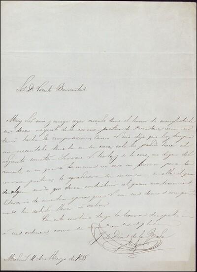 Carta de José de Díaz de la Prada y Delgado dirigida a Vicente Barrantes : [ [manuscrito]