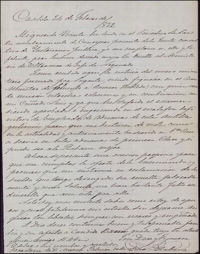 Carta de José Díaz y Figueroa dirigida a Vicente Barrantes : [ [manuscrito]