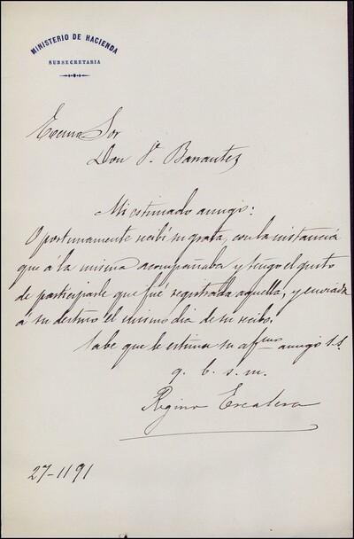 Carta de Regino Escalera dirigida a Vicente Barrantes : [ [manuscrito]