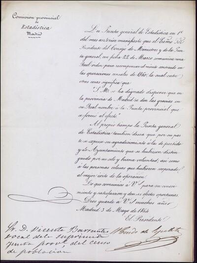 Carta de la Comisión provincial de Estadística de Madrid dirigida a Vicente Barrantes por ser vocal de la suprimida Junta Provincial del Censo de Población : [ [manuscrito]